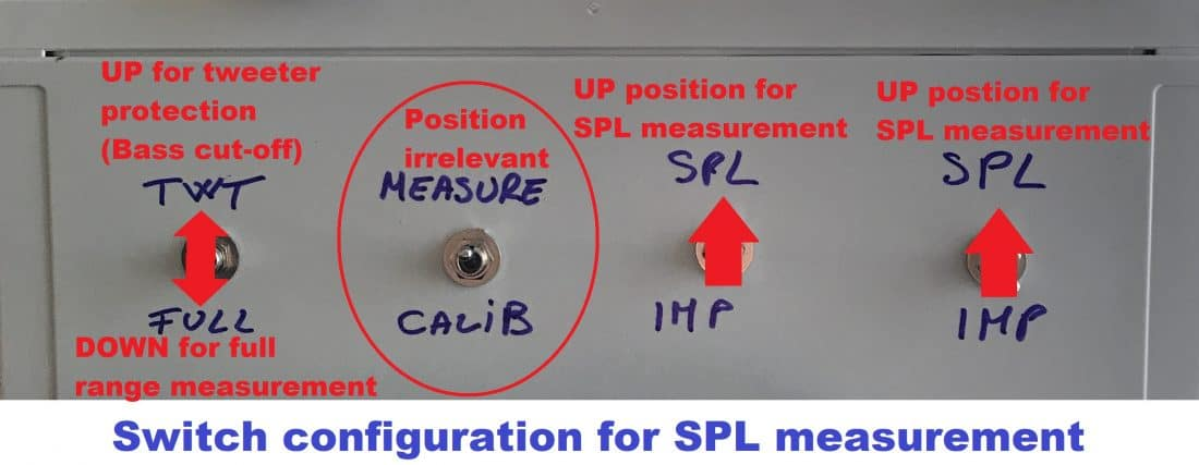soundeasy measurement box SPL switches position